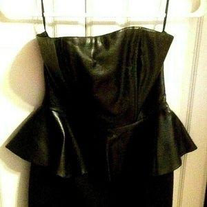 H&M Black Cocktail Mini Dress USA 4 Faux Leather